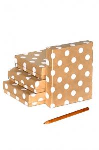 Коробка крафт  Горошек белый 5  15*13*7см