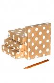 Коробка крафт  Горошек белый 1  6,5*5,5*3см