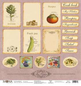 """Лист """"Карточки с рецептами"""" Винтажные рецепты 190 гр 30,5х30,5 см"""