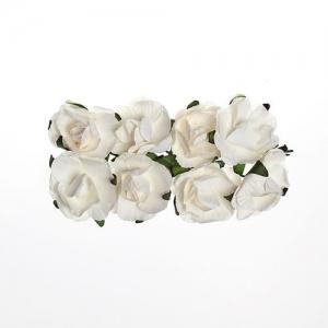 Розы из бумаги БЕЛЫЕ, 8 шт