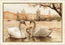 "Набор для вышивания  ""Лебеди, Прага"" 45х30см"