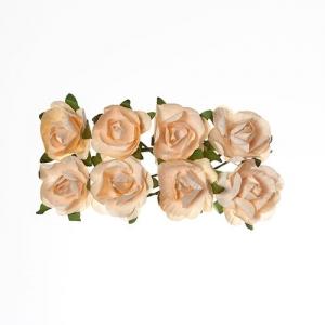 Розы из бумаги ПЕРСИКОВЫЕ, 8 шт