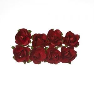 Розы из бумаги БОРДОВЫЕ, 8 шт