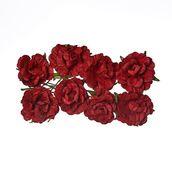 Кудрявые розы из бумаги БОРДОВЫЕ, 8 шт