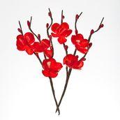Цветы вишни из ткани КРАСНЫЕ, 2 шт