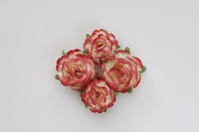 Цветы чайной розы, 2 шт - диам 4 см, 2 шт- диам 3 см, красно-желтые