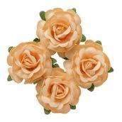 Цветы чайной розы, 4 шт, d4 см, бежевые
