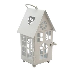 Декоративный домик-фонарик, метал, белый, 9х9,5х17см