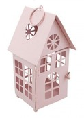 Декоративный домик-фонарик, метал, нежно-розовый, 7х7х14,5см