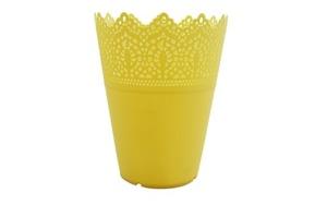 Кашпо цветочное желтое, 15х18,5см