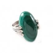 Вернисаж (Кольцо) Покрытие: Серебро Вставки: Малахит Цвет: Зеленый Разм:17