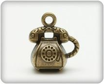 Набор металлических подвесок РЕТРО ТЕЛЕФОН медь 12*15мм