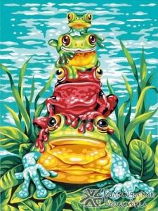 """Картина по номерам  """" Лягушки""""  23х30 см"""
