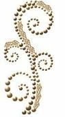 Аппликация самоклеящаяся  Say It In Pearls  с кружевом, 16,5 см.,  винтажный коричневый