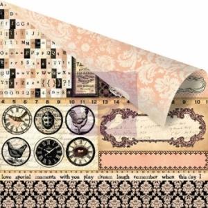 Бумага для скрапбукинга двусторонняя 30,5х30,5 см, серия ALMANAC, EDISON