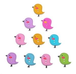 Птички деревянные разноцветные