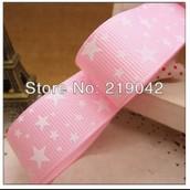 Лента репсовая розовая со звездами