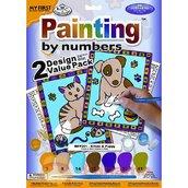 """Раскраска по номерам """"Котенок и  щенок"""" 24,1 х 33 см."""