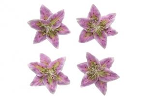 Цветы лилии, набор 4 шт, диам 5 см, нежно-сиреневые