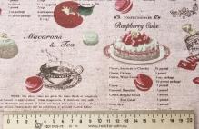 """Ткань """"Розовые ягоды"""", лен, 50х72"""