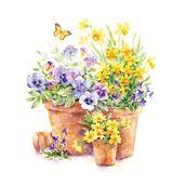 Салфетка бумажная 33*33 см (3 слоя) Pansies in a pot