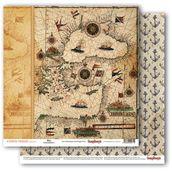 """Бумага двусторон """"Сокровище пиратов"""" Старинная карта, 30,5х30,5"""