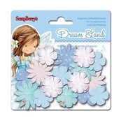 """Набор бум. цветочков """"Волшебная страна"""" Голубые цветы, 24шт"""