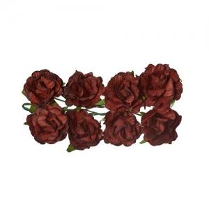 Кудрявые розы из бумаги ТЕМНО-КОРИЧНЕВЫЕ, 8 шт