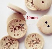 Пуговицы деревян  с цветочками