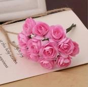 Розочки бумажные розовые 12шт букетик