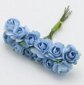 Розочки бумажные 12шт букетик  голубые