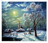 """Алмазная живопись """"Зимний пейзаж"""" 30*34 см"""