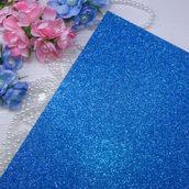 Фоамиран глиттерный 2 мм цв.синий, 20*30 cм