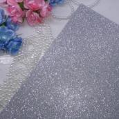 Фоамиран глиттерный 2 мм  цв.серебро, 20*30 cм