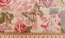 """Ткань """"Розы и бабочки"""" лен, 50х50"""