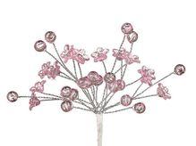 Мини-веточки с акриловыми цветочками РОЗОВЫЕ 6 шт