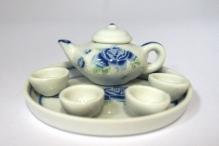 Чайный набор на подносе 6 предметов цв.голубой