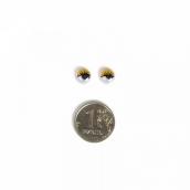 Глаза бегающие клеевые с ресницами  8мм цв.желтый 1шт