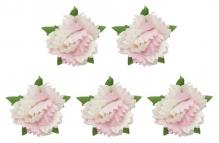 Гвоздики, набор 5 шт, диам 2,5 см, бело-розовые