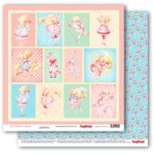 Лист бумаги для скрапбукинга 30,5х30,5 см 190 гр/м, Маленькая принцесса 308