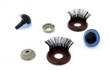 Глазки с фиксатором, веко с ресничками  цв.голубой 16х19 мм уп.2шт