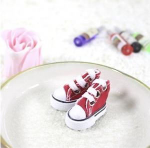 Кеды для кукол  на шнурках 5см красн.