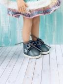 Ботики для куклы на шнуровке синие 5.5 см