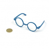 Очки со стеклом пластик. круглые  цв.синий 8см d-3см