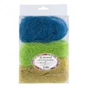 Сизалевое волокно  MIX  30 г ± 3 г Св. желтый/св.зеленый/синий