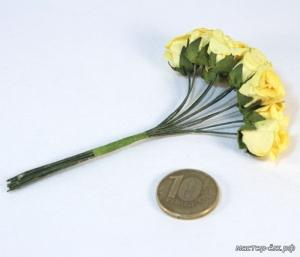 Цветы 10шт розочки желтые