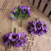 Цветы из ткани d 4,5см сиреневый 6шт