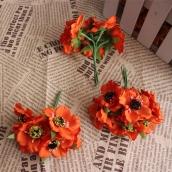 Цветы из ткани d 4,5см оранж 6шт