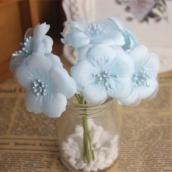 Цветы из ткани d 6см голубой 6шт