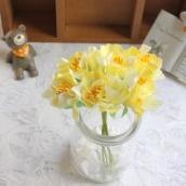 Цветы из ткани d 4см желтый 6шт